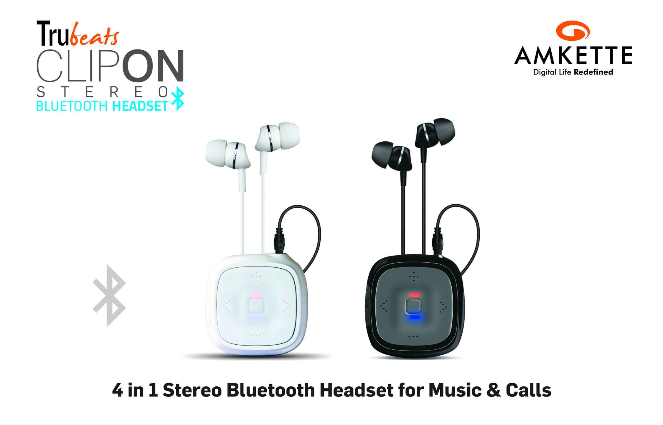 amkette truebeats clipon bluetooth headset